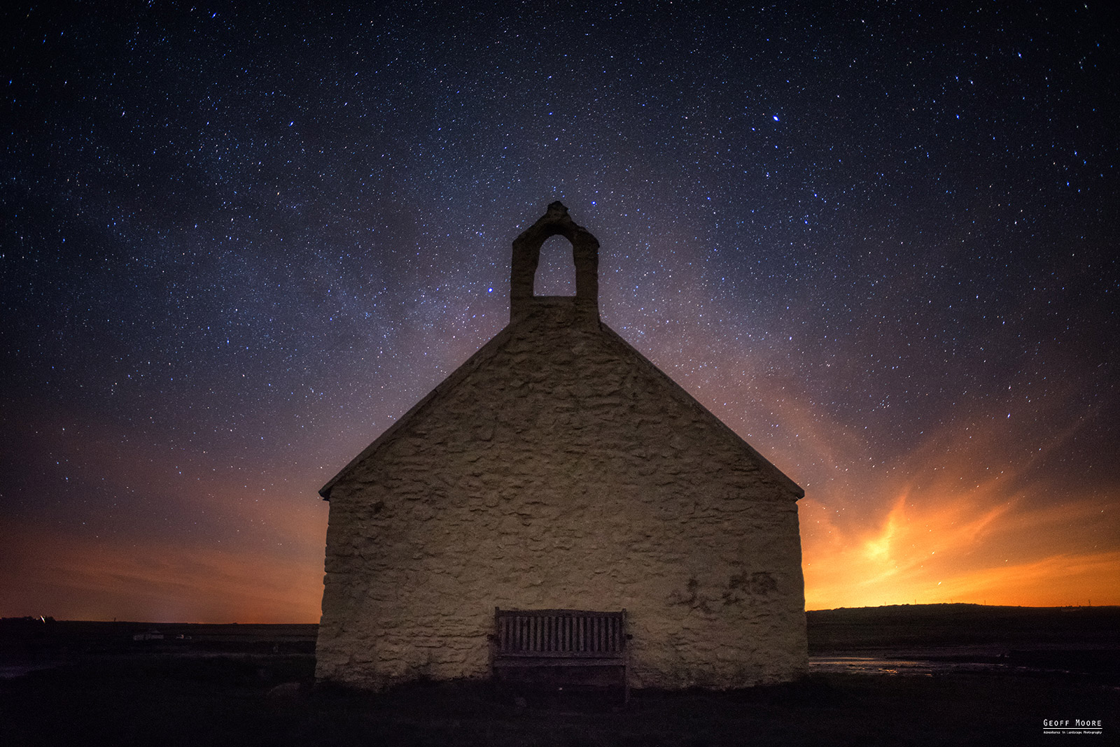 St. Cwyfan's Church at Night