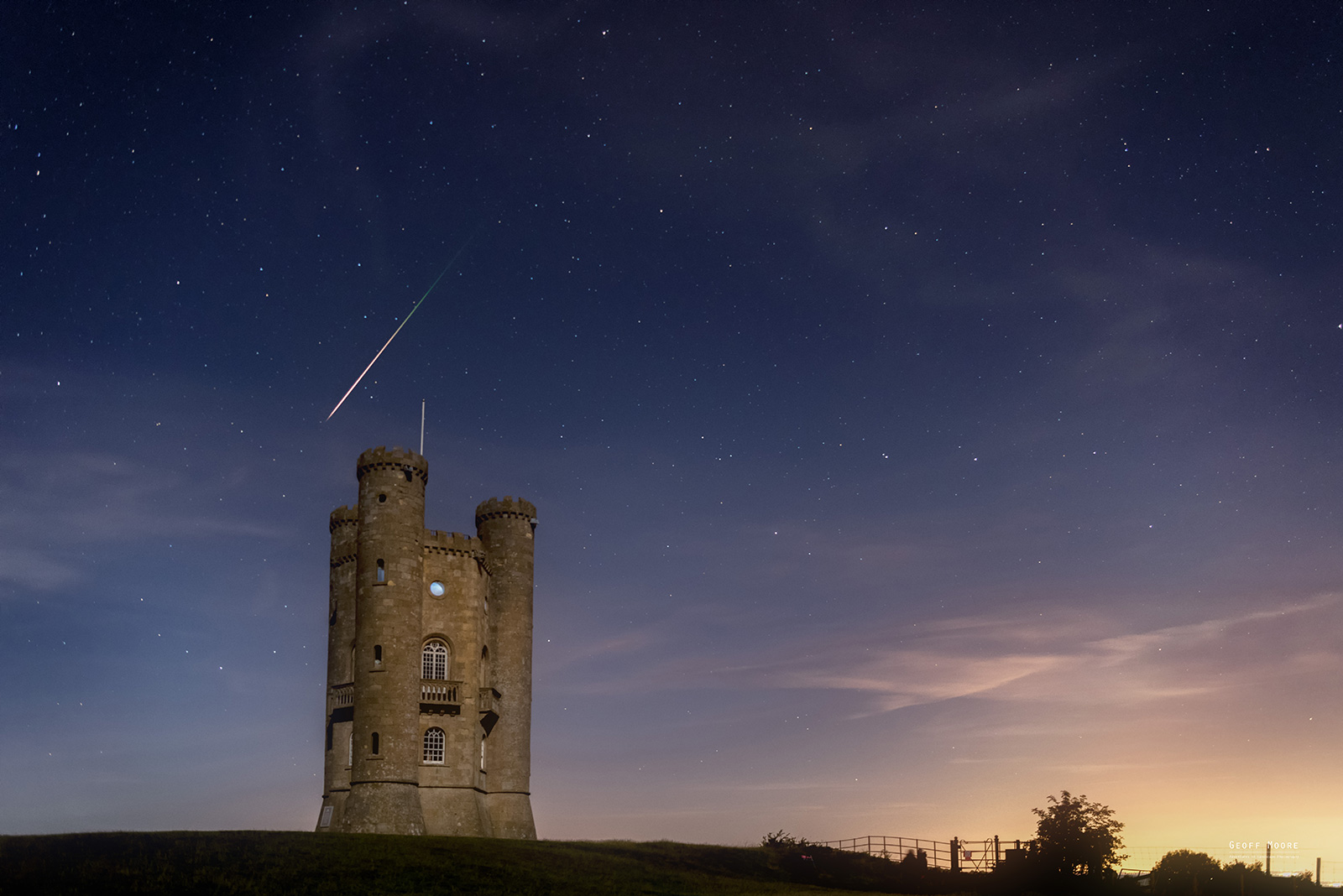 Perseid Meteor Over Broadway Tower