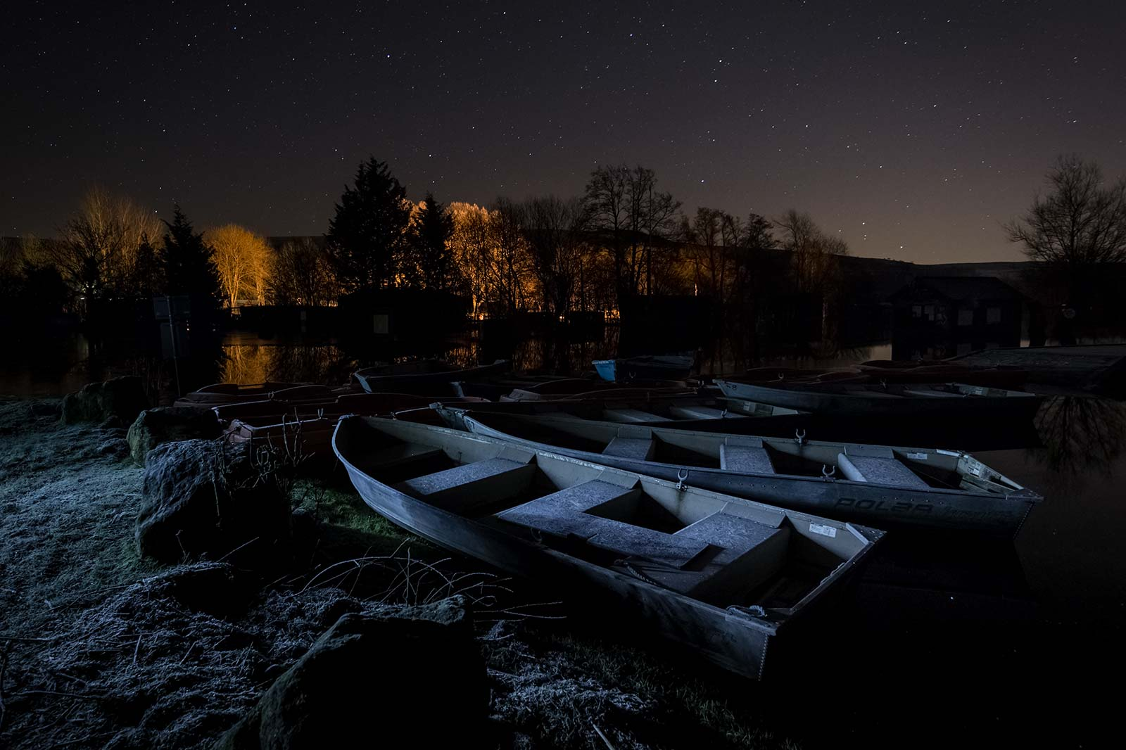 Frozen Boats Huddle For Warmth