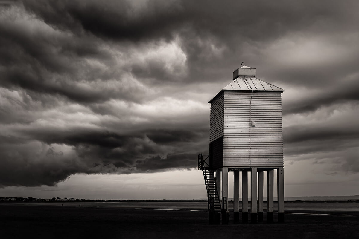 Storm clouds build over the Low Lighthouse at Burnham on Sea